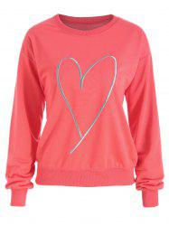 Plus Size Drop Shoulder Heart Print Sweatshirt -
