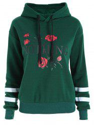 Plus Size Floral Letter Print Flocking Hoodie -