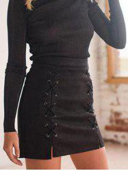 Faux Suede Lace-up Skirt -
