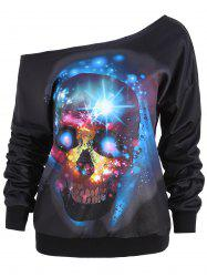 Halloween Skull Flocking Skew Neck Sweatshirt -