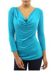 Cowl Neck Fitted T Shirt -