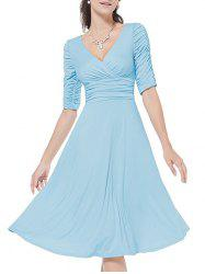 Surplice Ruched A Line Dress -