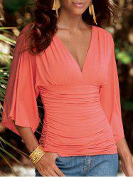 Plunge Ruched Split Sleeve Top -