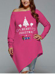 Christmas Skew Neck Plus Size Asymmetrical T-shirt -