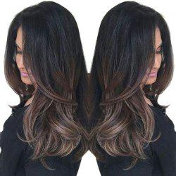 Long Side Bang Natural Straight Ombre Synthetic Wig -