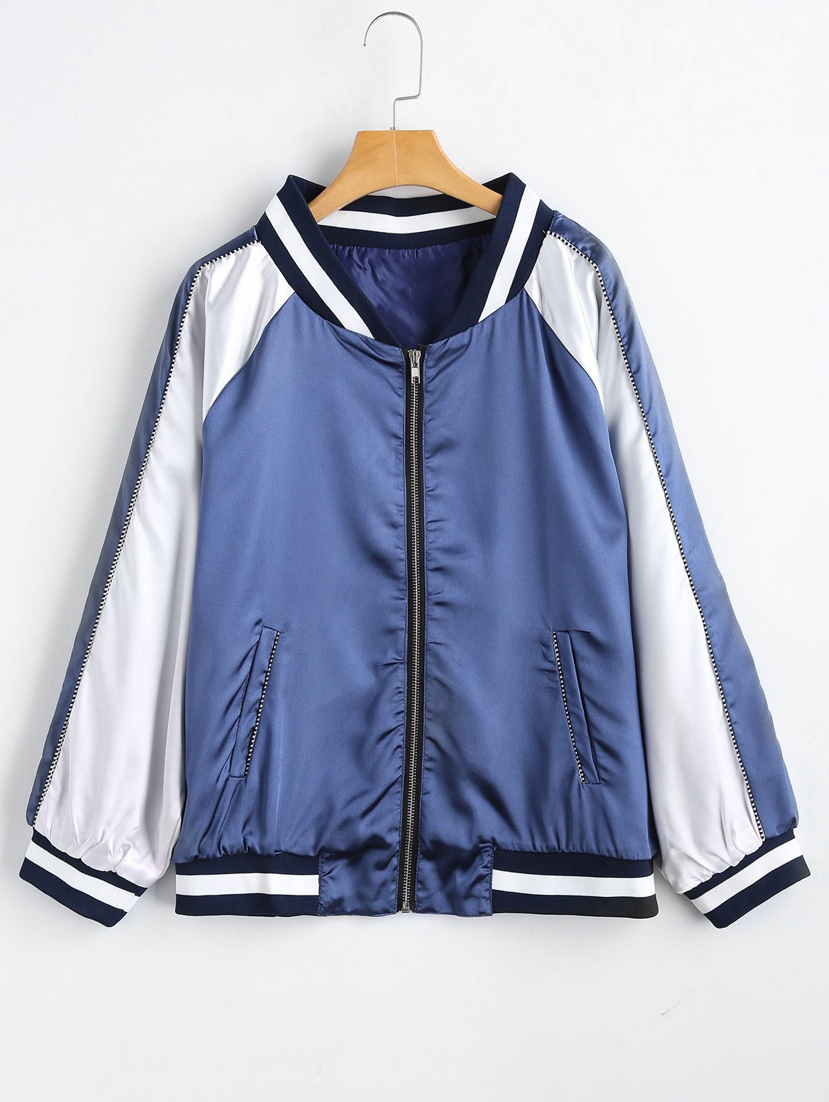 Chic Plus Size Striped Zip Up Baseball Jacket