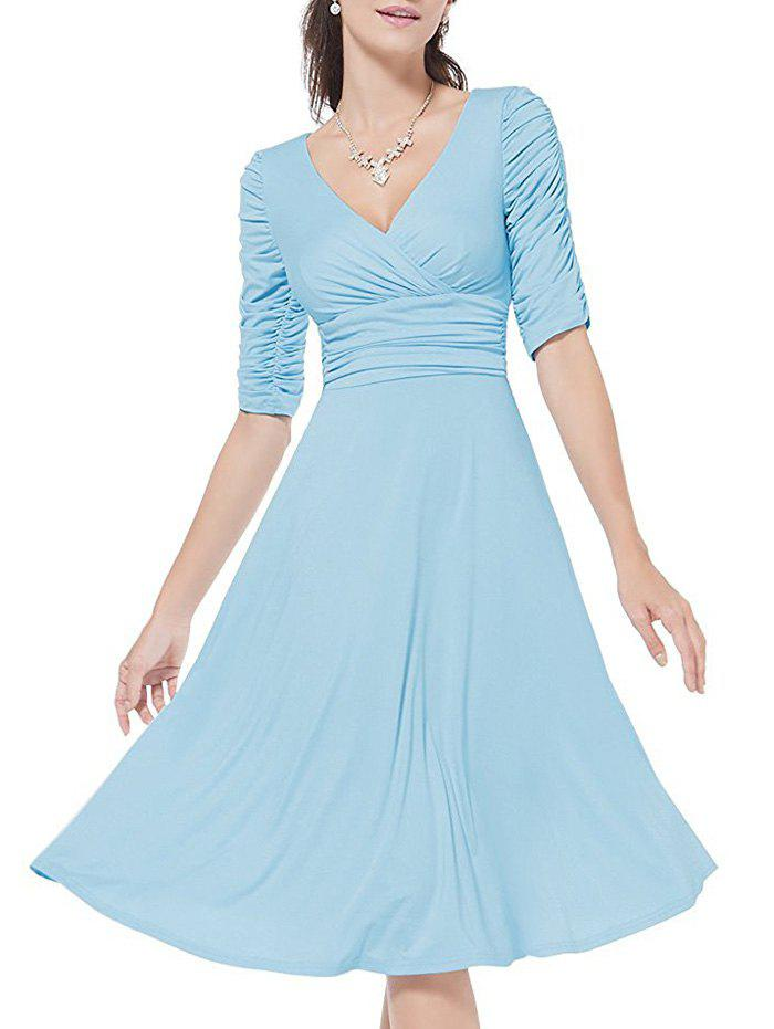 Discount Surplice Ruched A Line Dress