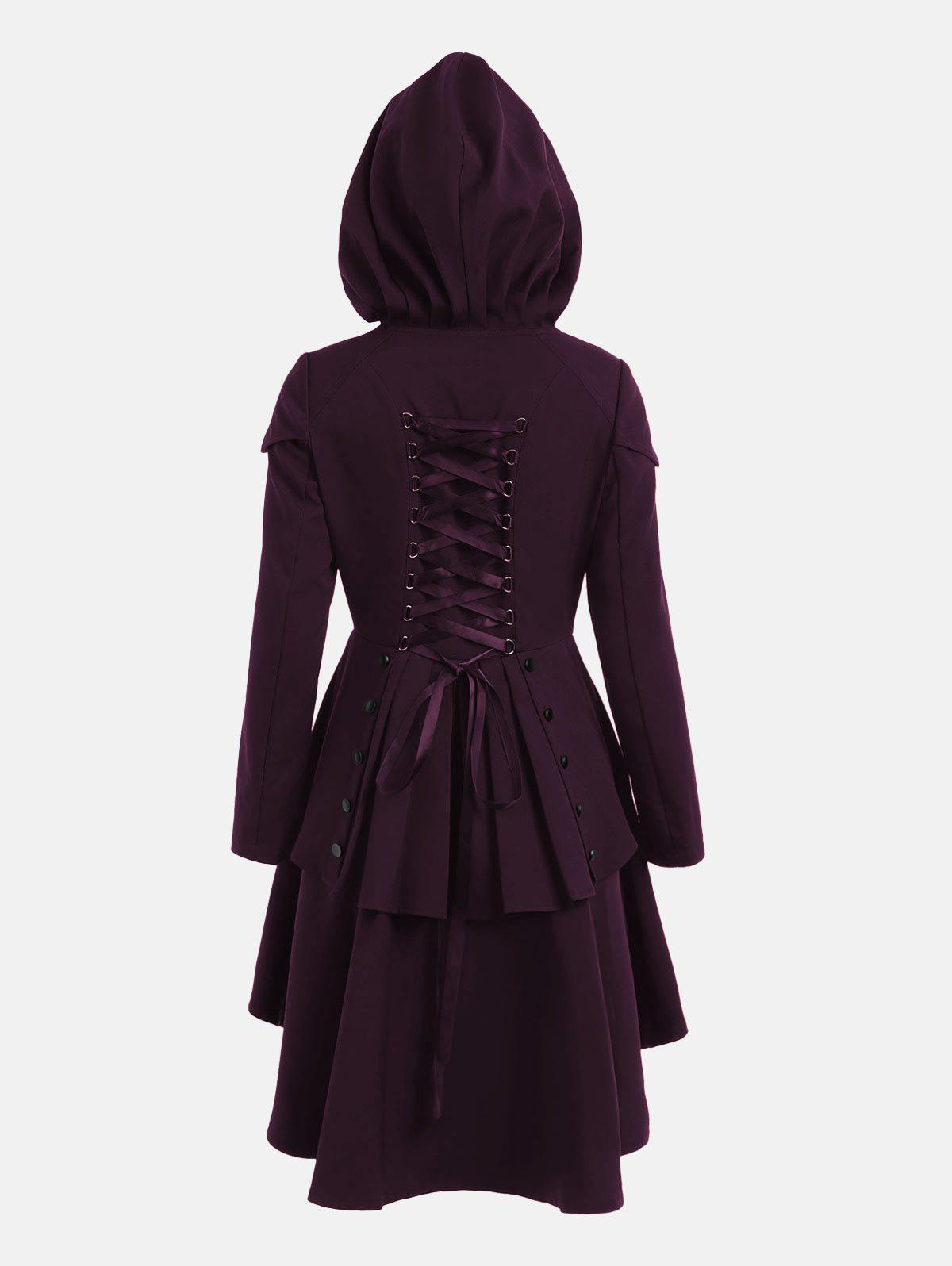 Lace Up Layered High Low Hooded CoatWOMEN<br><br>Size: L; Color: DEEP PURPLE; Clothes Type: Others; Material: Polyester; Type: High Waist; Shirt Length: Long; Sleeve Length: Full; Collar: Hooded; Closure Type: Single Breasted; Pattern Type: Solid; Embellishment: Criss-Cross; Style: Gothic; Season: Fall,Spring; With Belt: No; Weight: 0.6600kg; Package Contents: 1 x Coat;