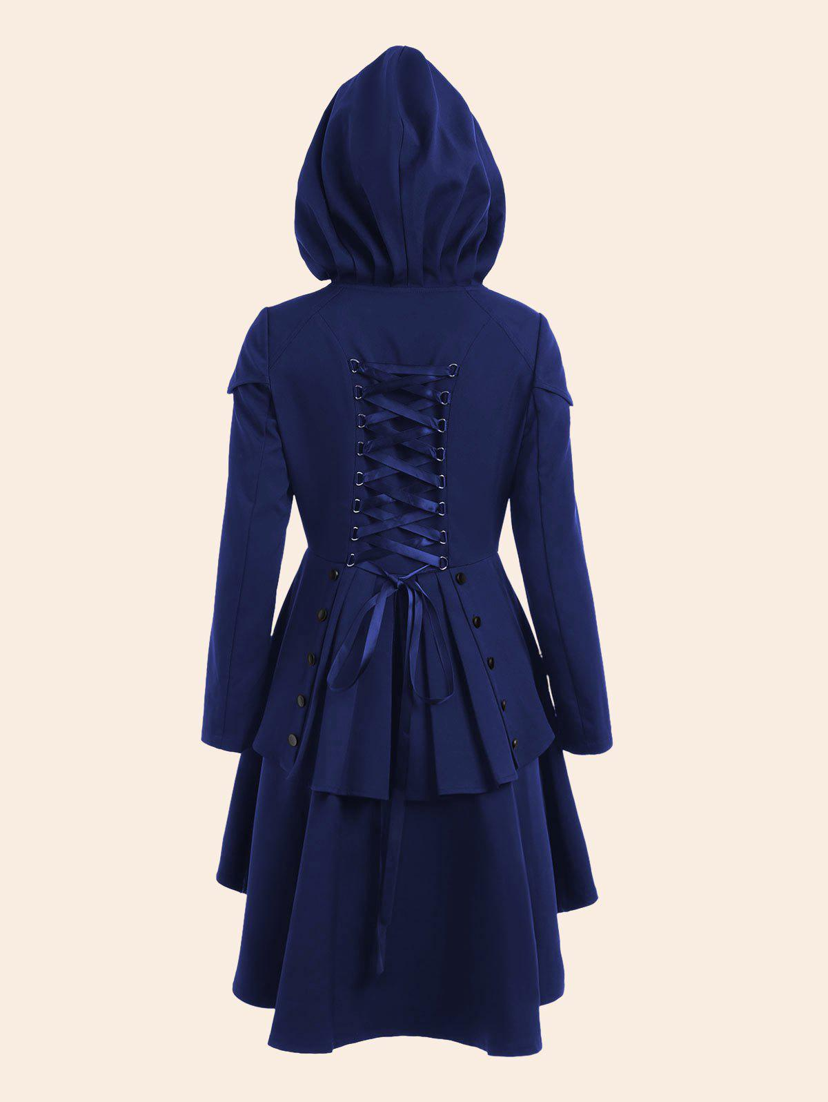 Lace Up High Low Plus Size Hooded CoatWOMEN<br><br>Size: 5XL; Color: BLUE; Clothes Type: Others; Material: Polyester; Type: High Waist; Shirt Length: Regular; Sleeve Length: Full; Collar: Hooded; Closure Type: Single Breasted; Pattern Type: Solid; Embellishment: Criss-Cross; Style: Gothic; Season: Fall,Spring; With Belt: No; Weight: 0.7500kg; Package Contents: 1 x Coat;