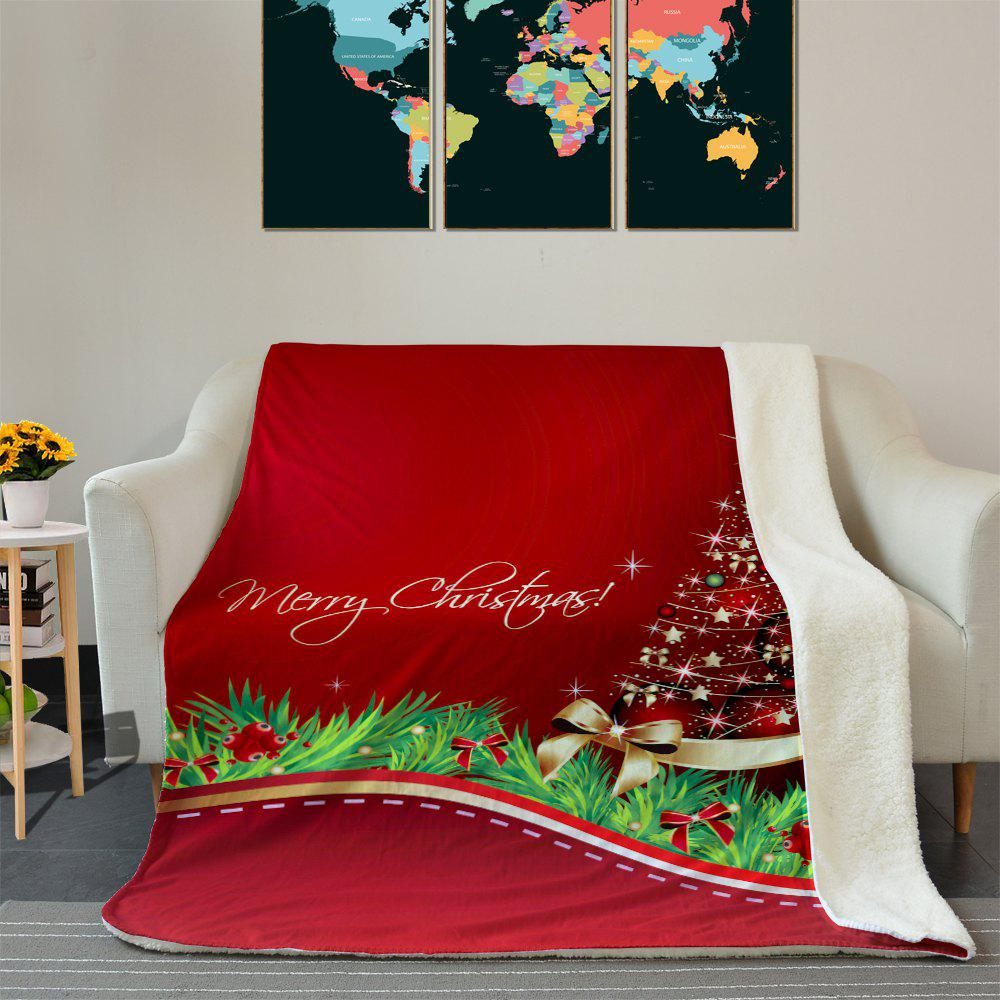 Chic Christmas Star Tree Pattern Fleece Thermal Blanket