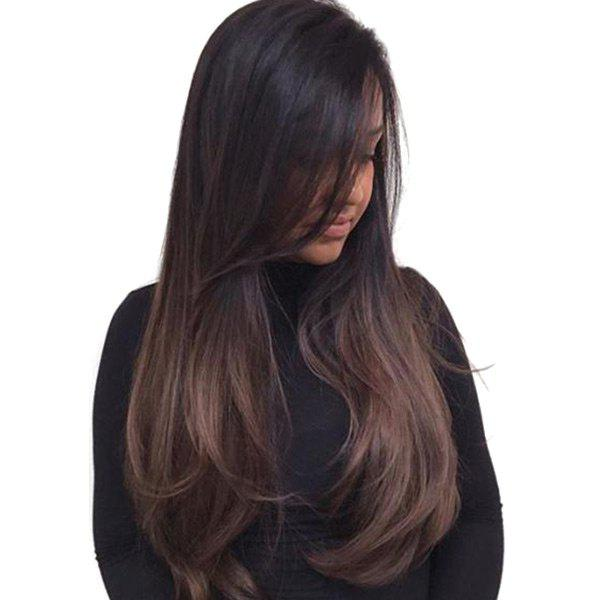 Long Inclined Bang Ombre Straight Synthetic WigHAIR<br><br>Color: GRADUAL BROWN; Type: Full Wigs; Cap Construction: Capless; Style: Straight; Material: Synthetic Hair; Bang Type: Side; Length: Long; Length Size(CM): 58; Weight: 0.2800kg; Package Contents: 1 x Wig;