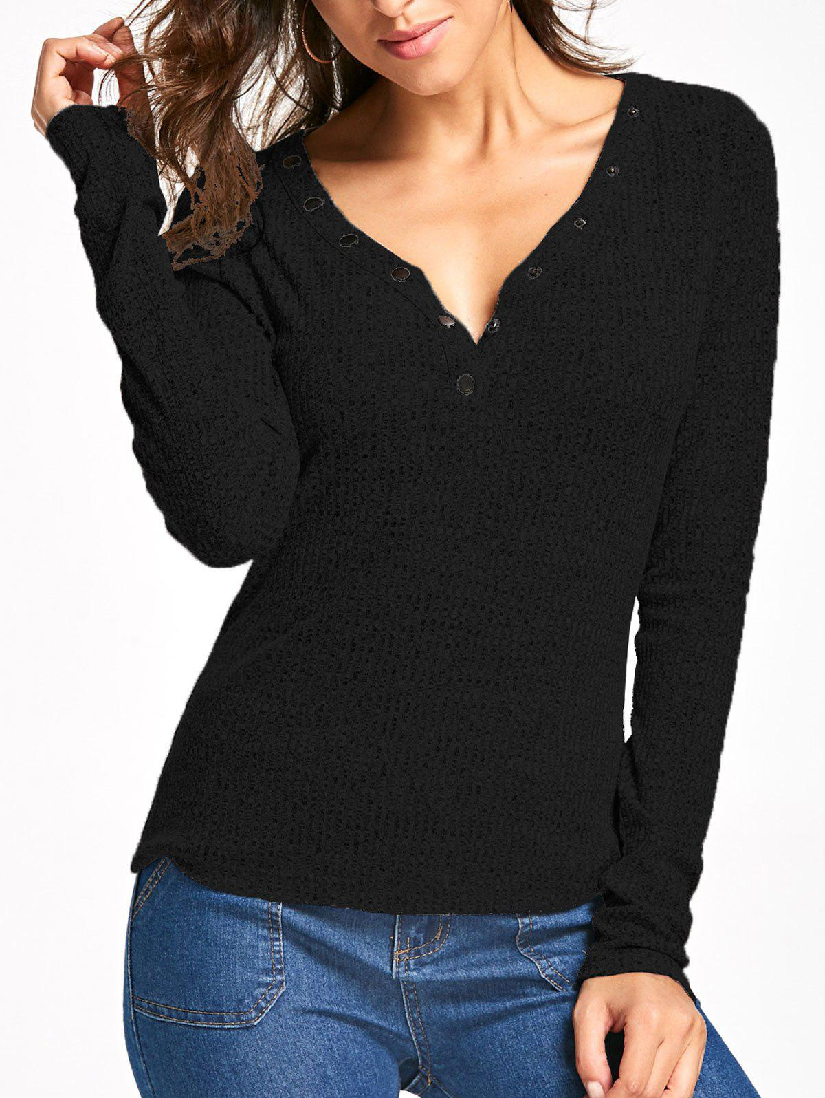 Long Sleeve Button V Neck Ribbed TopWOMEN<br><br>Size: 2XL; Color: BLACK; Material: Cotton Blends,Polyester,Spandex; Shirt Length: Regular; Sleeve Length: Full; Collar: V-Neck; Style: Fashion; Pattern Type: Solid; Season: Fall,Spring; Weight: 0.2540kg; Package Contents: 1 x Top;