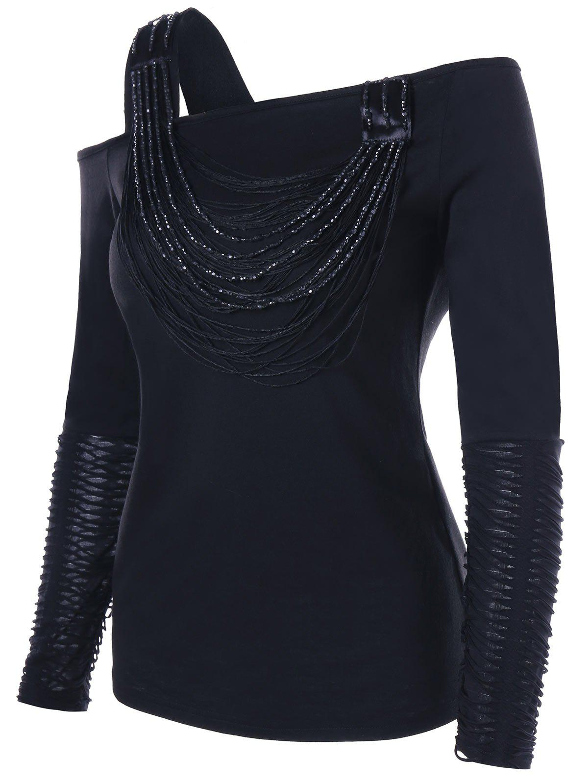 Distressed Long Sleeve Beaded One Shoulder TopWOMEN<br><br>Size: XL; Color: BLACK; Material: Polyester,Spandex; Shirt Length: Regular; Sleeve Length: Full; Collar: One-Shoulder; Style: Fashion; Embellishment: Beading; Pattern Type: Solid; Season: Fall,Spring; Weight: 0.2650kg; Package Contents: 1 x Top;