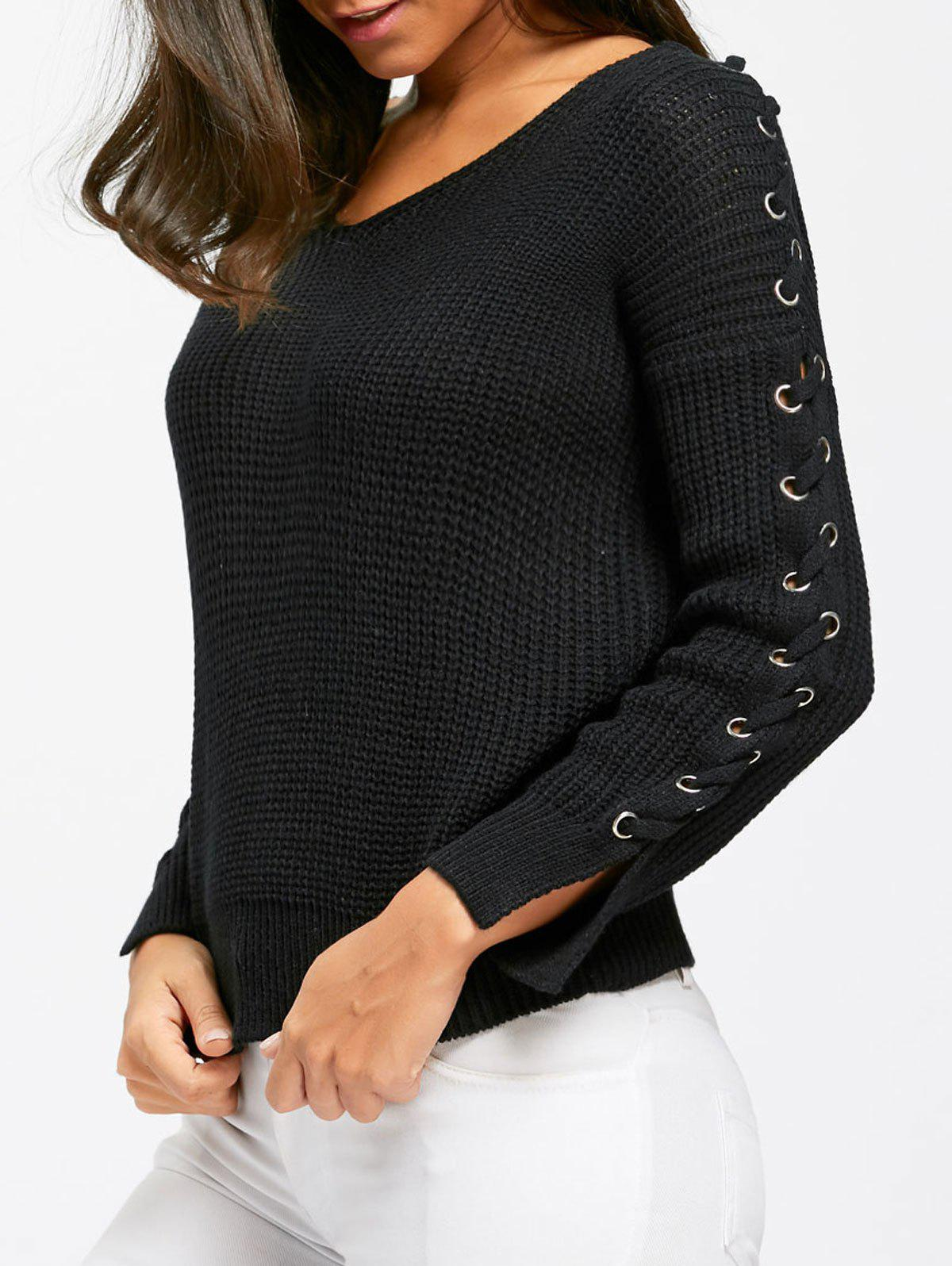 V Neck Lace Up Chunky Sweater Noir Taille Unique