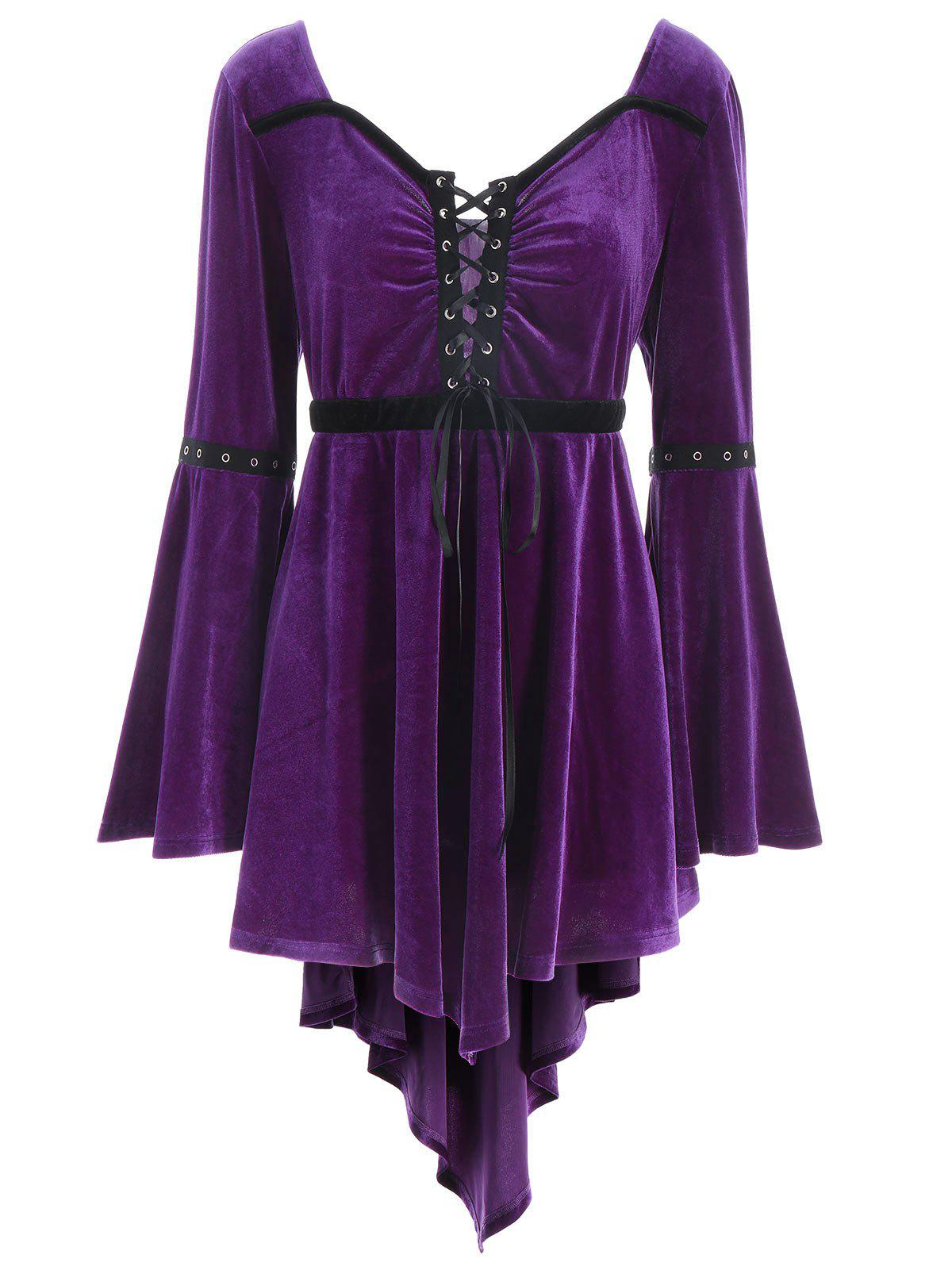 Plus Size Lace Up High Low Velvet T-shirtWOMEN<br><br>Size: 5XL; Color: PURPLE; Material: Cotton,Polyester; Shirt Length: Long; Sleeve Length: Full; Collar: Sweetheart Neck; Style: Fashion; Season: Fall; Sleeve Type: Flare Sleeve; Embellishment: Criss-Cross; Pattern Type: Solid; Weight: 0.4000kg; Package Contents: 1 x T-shirt;