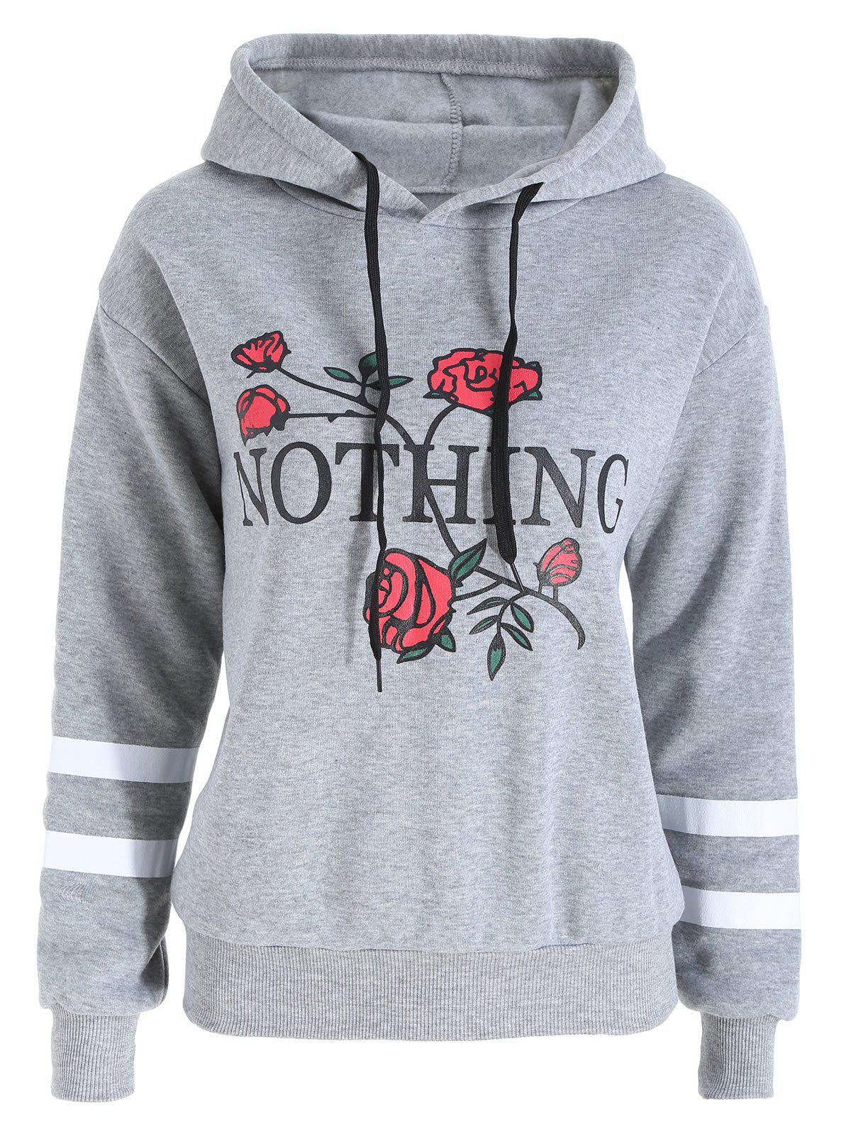 Shop Plus Size Floral Letter Print Flocking Hoodie