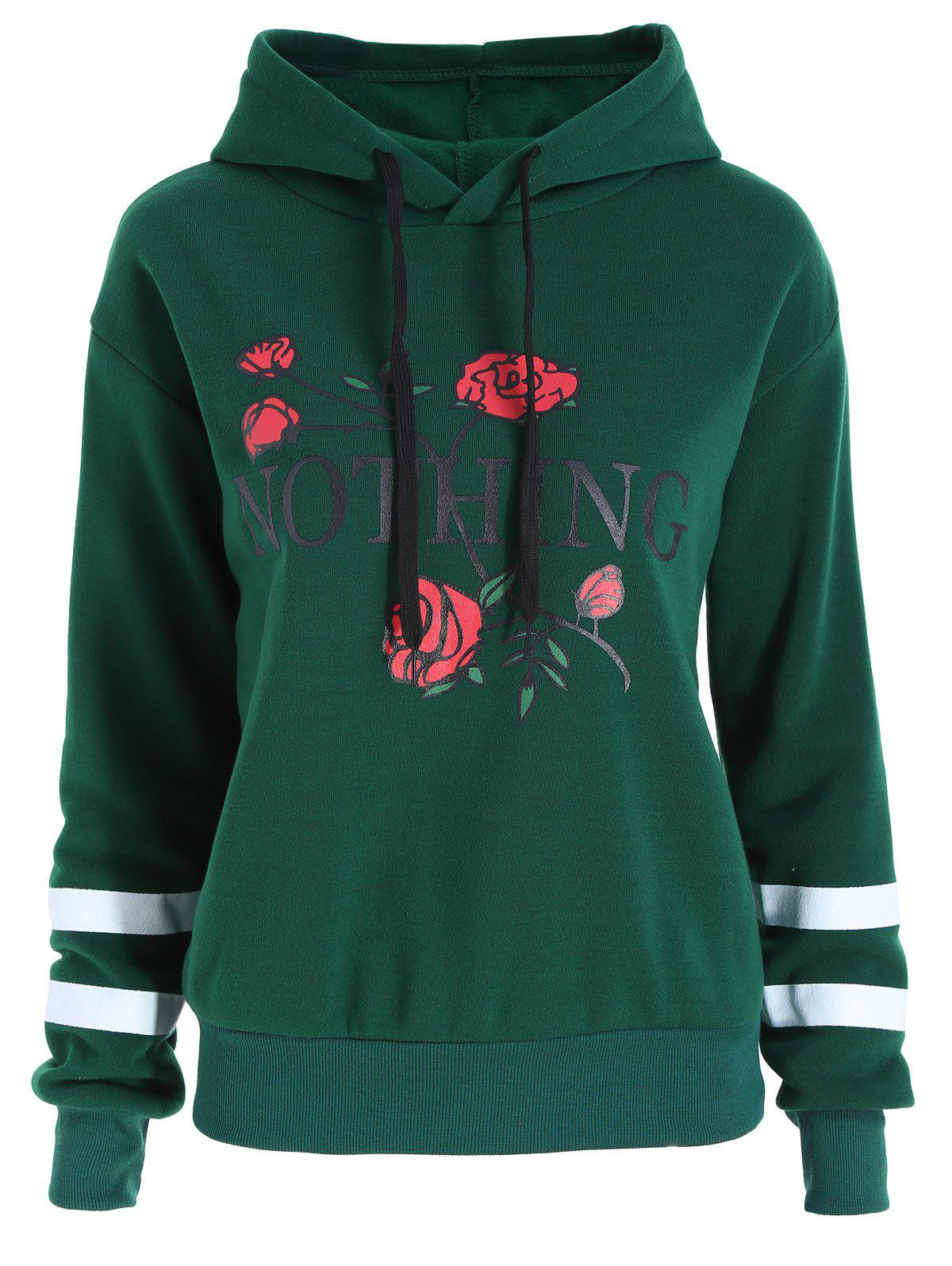 Fancy Plus Size Floral Letter Print Flocking Hoodie