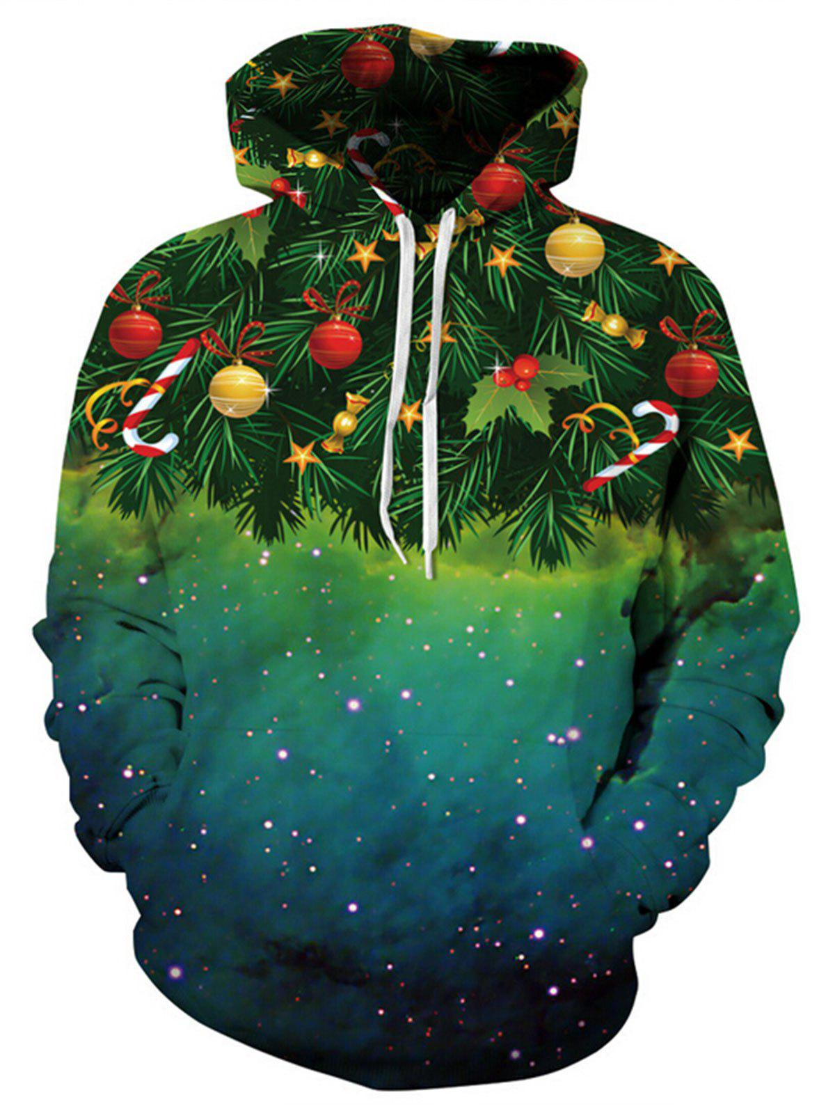 Christmas Tree Galaxy Print Plus Size HoodieWOMEN<br><br>Size: 2XL; Color: GREEN; Material: Polyester,Spandex; Shirt Length: Regular; Sleeve Length: Full; Style: Fashion; Pattern Style: Print; Elasticity: Elastic; Season: Fall,Spring,Winter; Weight: 0.4800kg; Package Contents: 1 x Hoodie;