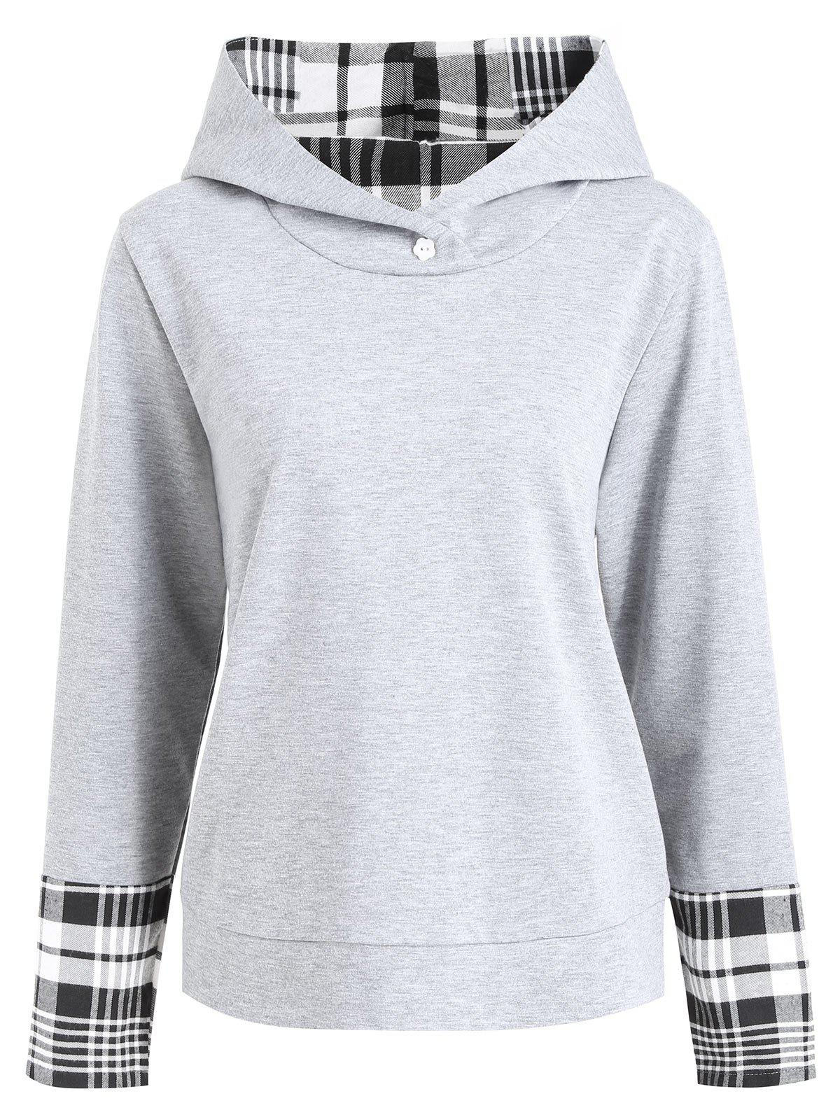 Plus Size Plaid Insert HoodieWOMEN<br><br>Size: 3XL; Color: GRAY; Material: Cotton,Polyester; Shirt Length: Regular; Sleeve Length: Full; Style: Casual; Pattern Style: Plaid; Embellishment: Button; Season: Fall; Weight: 0.4100kg; Package Contents: 1 x Hoodie;