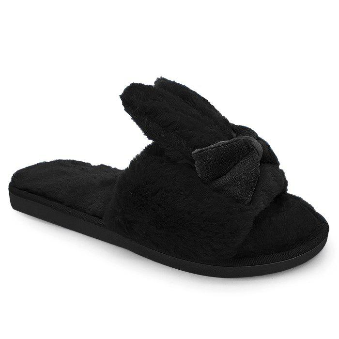 """Rabbit Ear Non-slip Faux Fur SlippersSHOES &amp; BAGS<br><br>Size: SIZE(40-41); Color: BLACK; Gender: For Women; Shoe Width: Medium(B/M); Pattern Type: Solid; Embellishment: Bowknot; Heel Height Range: Flat(0-0.5""""); Upper Material: Fur; Season: Spring/Fall,Winter; Style: Sweet; Weight: 1.2000kg; Slipper Type: Indoor; Heel Height: 2CM; Heel Type: Flat Heel; Package Contents: 1 x Slippers (pair);"""