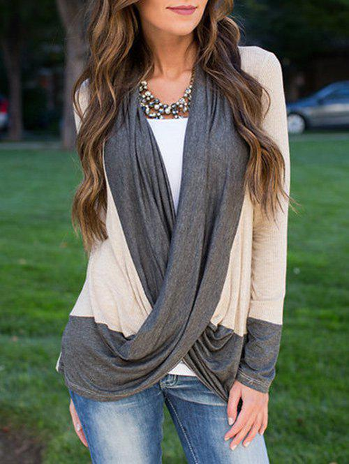 Shops Color Block Long Sleeve Wrap T Shirt