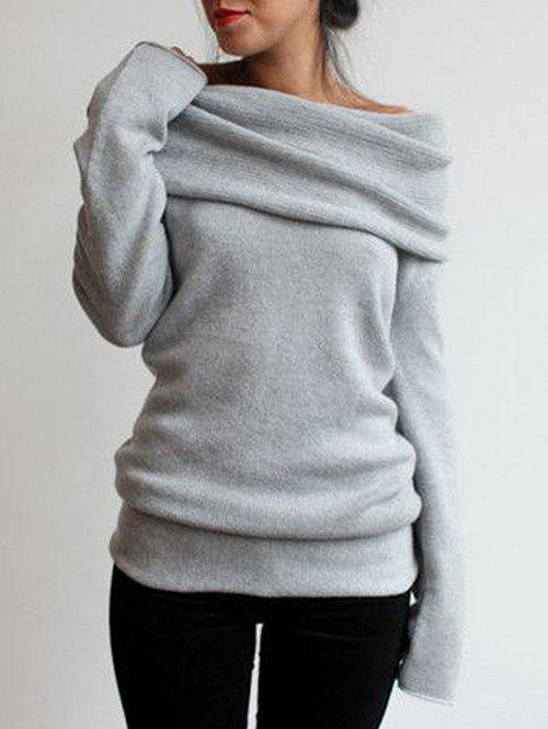 Cowl Neck Jumper SweaterWOMEN<br><br>Size: S; Color: LIGHT GRAY; Type: Pullovers; Material: Polyester; Sleeve Length: Full; Collar: Cowl Neck; Style: Fashion; Pattern Type: Solid; Season: Fall,Spring; Elasticity: Micro-elastic; Weight: 0.4200kg; Package Contents: 1 x Sweater;