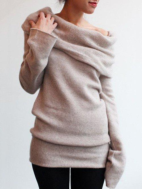 Cowl Neck Jumper SweaterWOMEN<br><br>Size: XL; Color: LIGHT KHAKI; Type: Pullovers; Material: Polyester; Sleeve Length: Full; Collar: Cowl Neck; Style: Fashion; Pattern Type: Solid; Season: Fall,Spring; Elasticity: Micro-elastic; Weight: 0.4200kg; Package Contents: 1 x Sweater;
