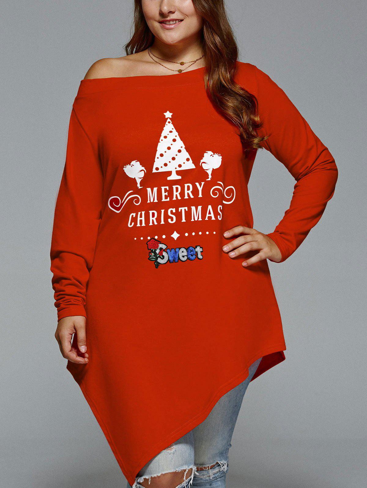 Christmas Skew Neck Plus Size Asymmetrical T-shirtWOMEN<br><br>Size: 5XL; Color: RED; Material: Polyester,Spandex; Shirt Length: Long; Sleeve Length: Full; Collar: Skew Collar; Style: Casual; Season: Fall,Spring,Winter; Embellishment: Appliques; Pattern Type: Print; Elasticity: Elastic; Weight: 0.3600kg; Package Contents: 1 x T-shirt;