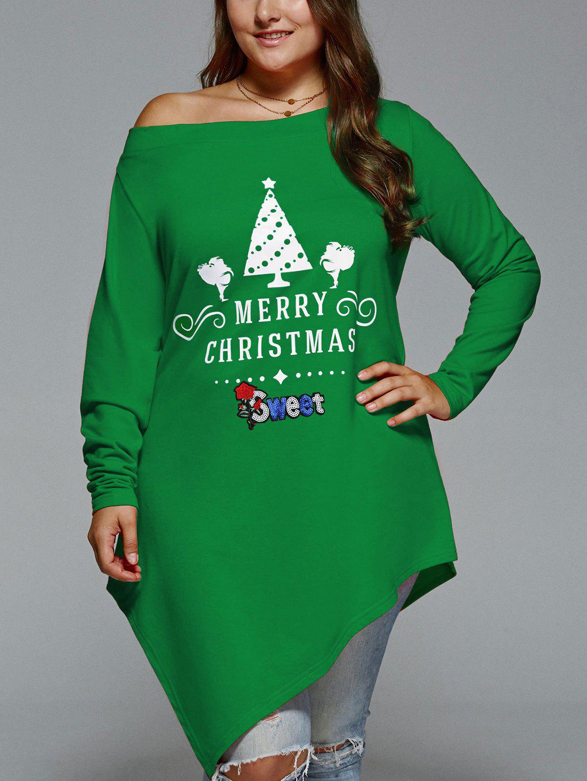 Chic Christmas Skew Neck Plus Size Asymmetrical T-shirt