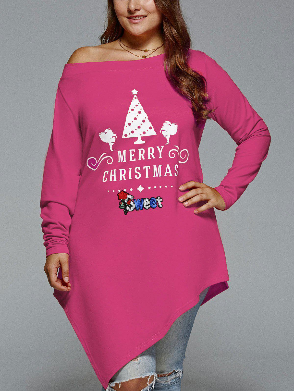 Christmas Skew Neck Plus Size Asymmetrical T-shirtWOMEN<br><br>Size: 3XL; Color: TUTTI FRUTTI; Material: Polyester,Spandex; Shirt Length: Long; Sleeve Length: Full; Collar: Skew Collar; Style: Casual; Season: Fall,Spring,Winter; Embellishment: Appliques; Pattern Type: Print; Elasticity: Elastic; Weight: 0.3600kg; Package Contents: 1 x T-shirt;