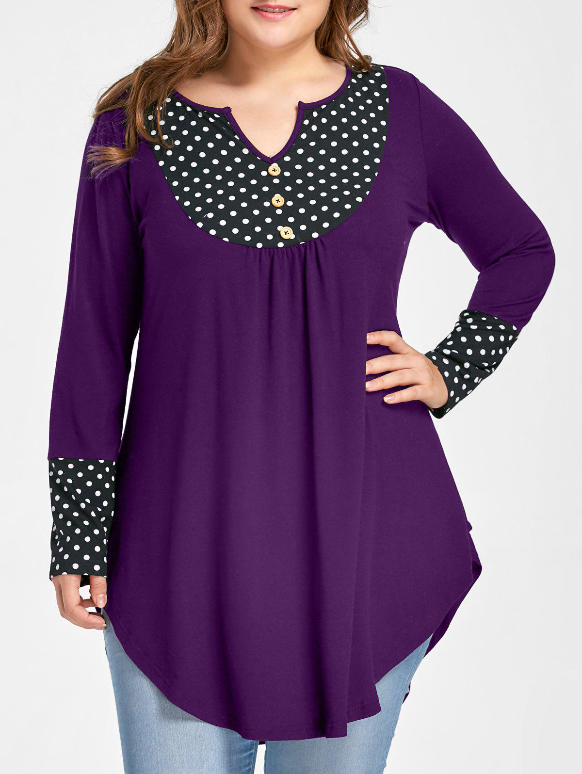 Plus Size Polka Dot Curved Hem TopWOMEN<br><br>Size: 5XL; Color: PURPLE; Material: Polyester,Spandex; Shirt Length: Long; Sleeve Length: Full; Collar: Round Neck; Style: Casual; Season: Fall,Spring; Pattern Type: Polka Dot; Weight: 0.3300kg; Package Contents: 1 x Top;