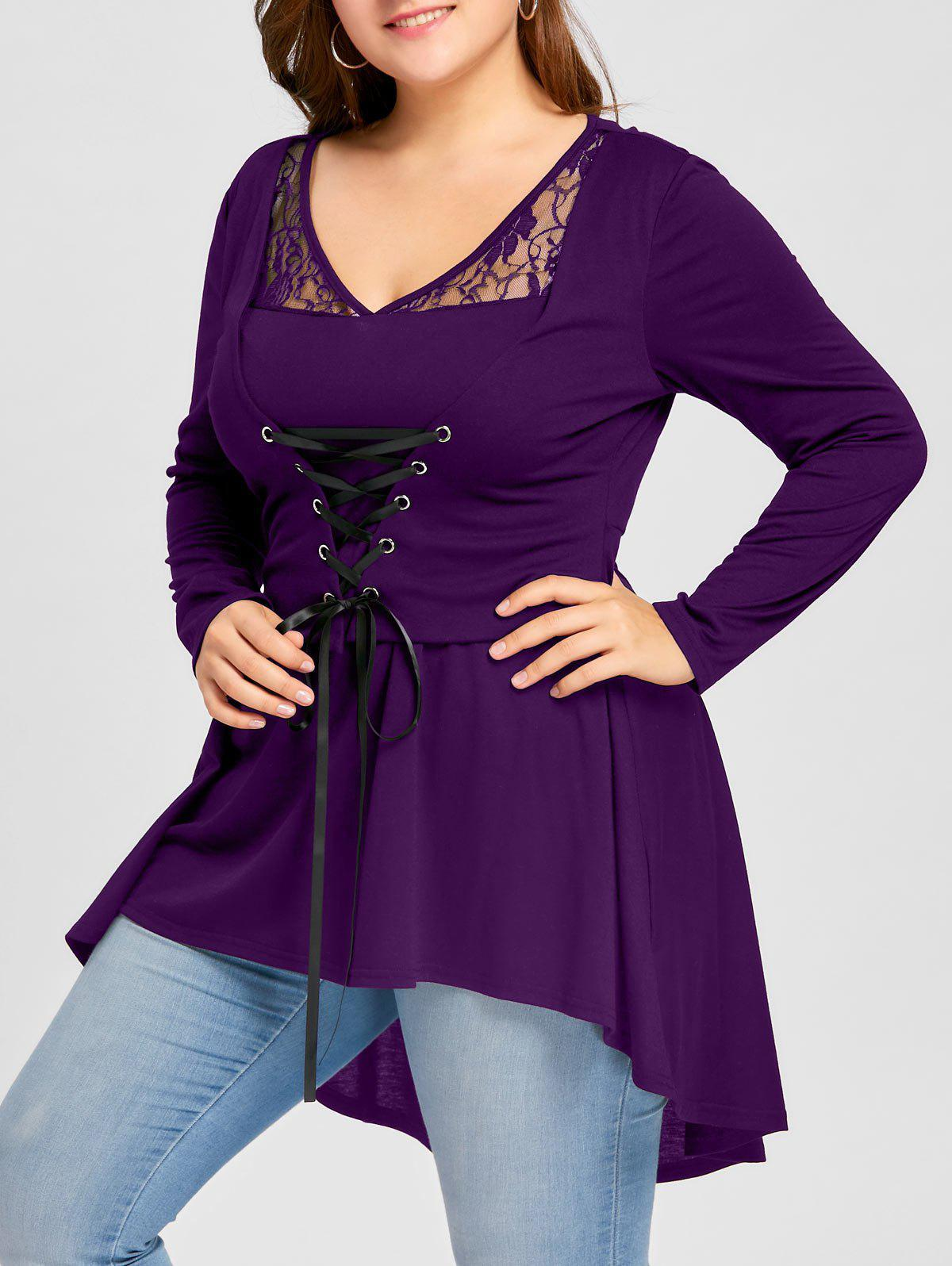 Plus Size Lace Up High Low Gothic TopWOMEN<br><br>Size: 2XL; Color: PURPLE; Material: Polyester,Spandex; Shirt Length: Long; Sleeve Length: Full; Collar: V-Neck; Style: Gothic; Season: Fall,Spring; Embellishment: Lace; Pattern Type: Solid; Weight: 0.3700kg; Package Contents: 1 x Top;