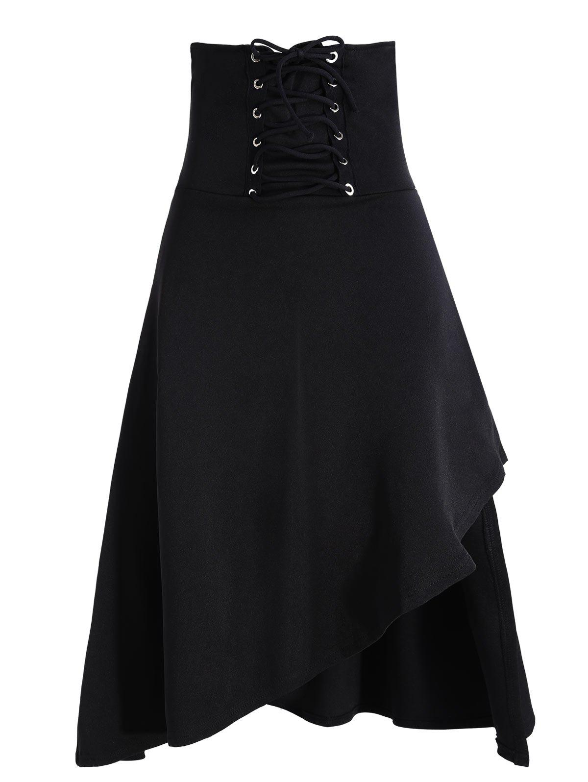 Asymmetric Lace Up Gothic Long SkirtWOMEN<br><br>Size: 2XL; Color: BLACK; Material: Polyester,Spandex; Length: Mid-Calf; Silhouette: A-Line; Pattern Type: Solid; Embellishment: Criss-Cross; Season: Fall,Spring; Weight: 0.4500kg; Package Contents: 1 x Skirt;
