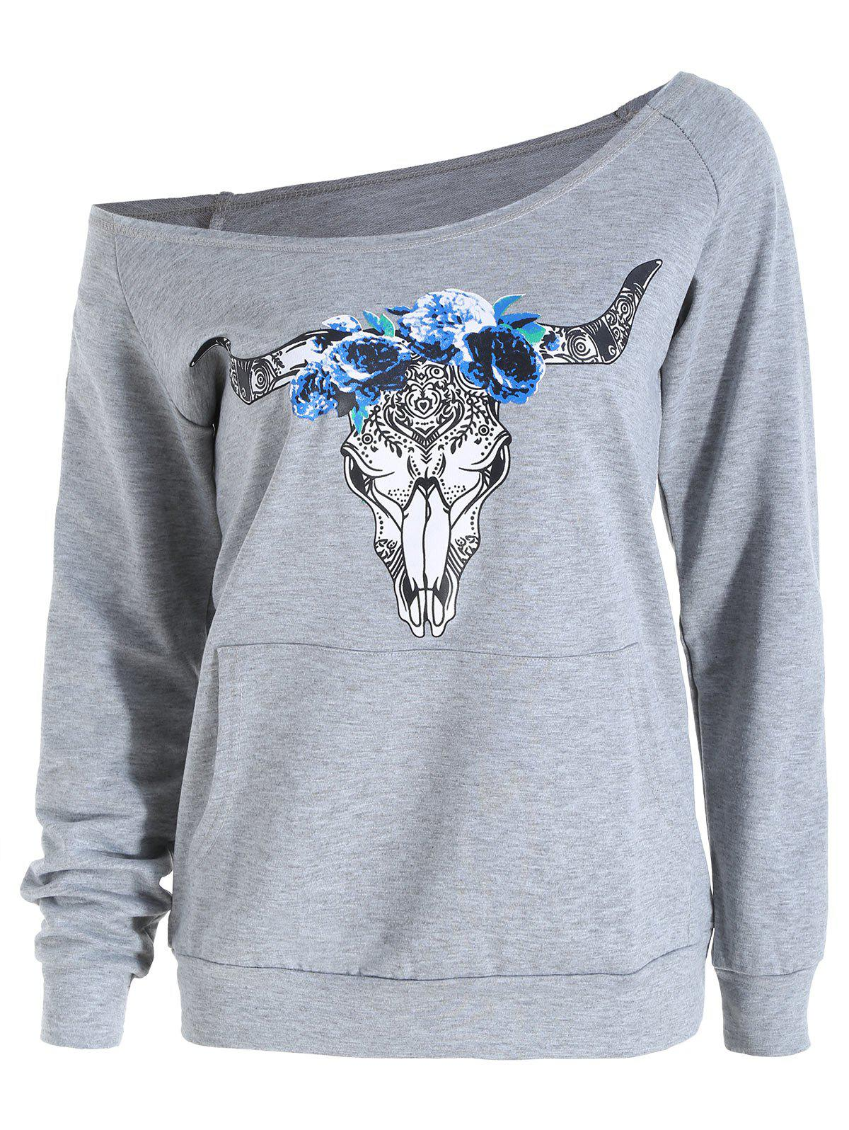 Shops Raglan Sleeve Elk Print Skew Neck Graphic Sweatshirt
