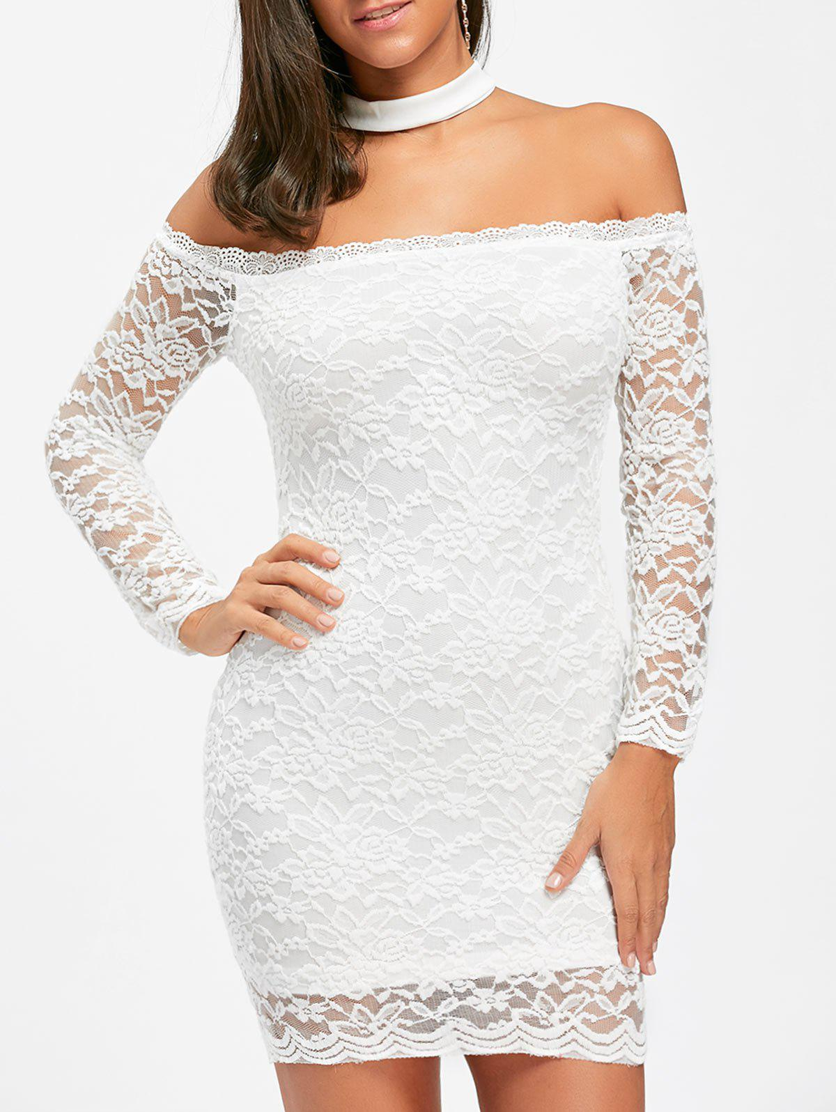 Discount Lace Off The Shoulder Choker Bodycon Dress