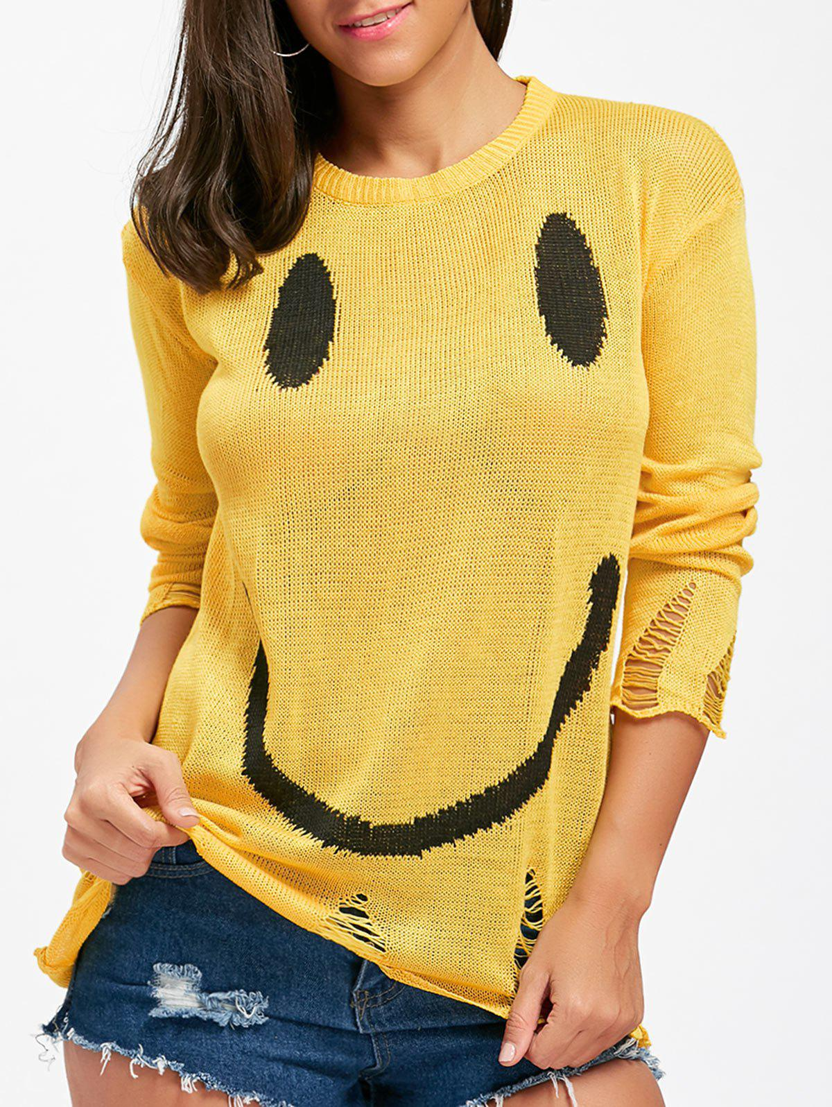 Trendy Distressed Smile Face Knitwear