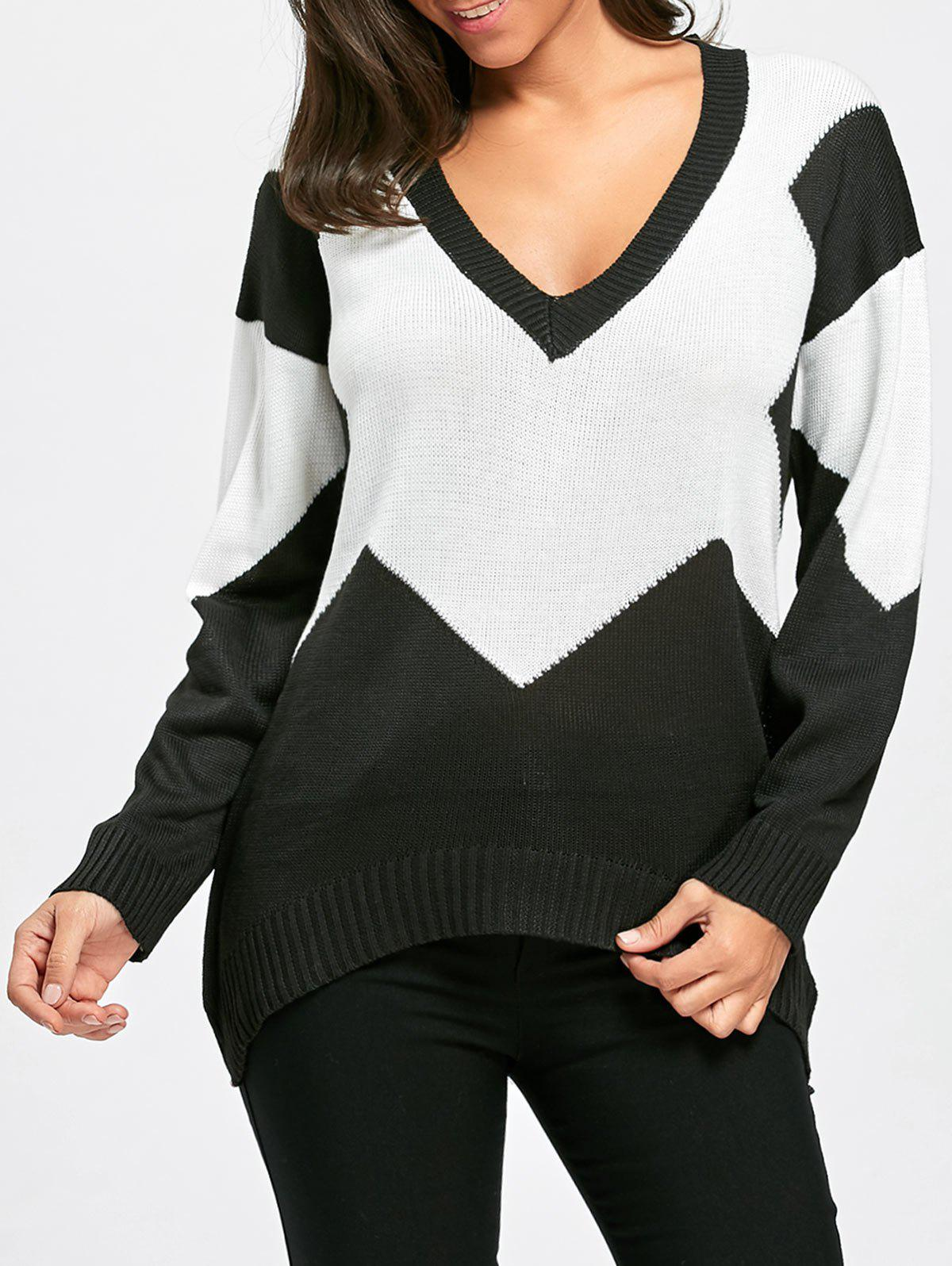 Buy Deep V Neck Two Tone Color Sweater