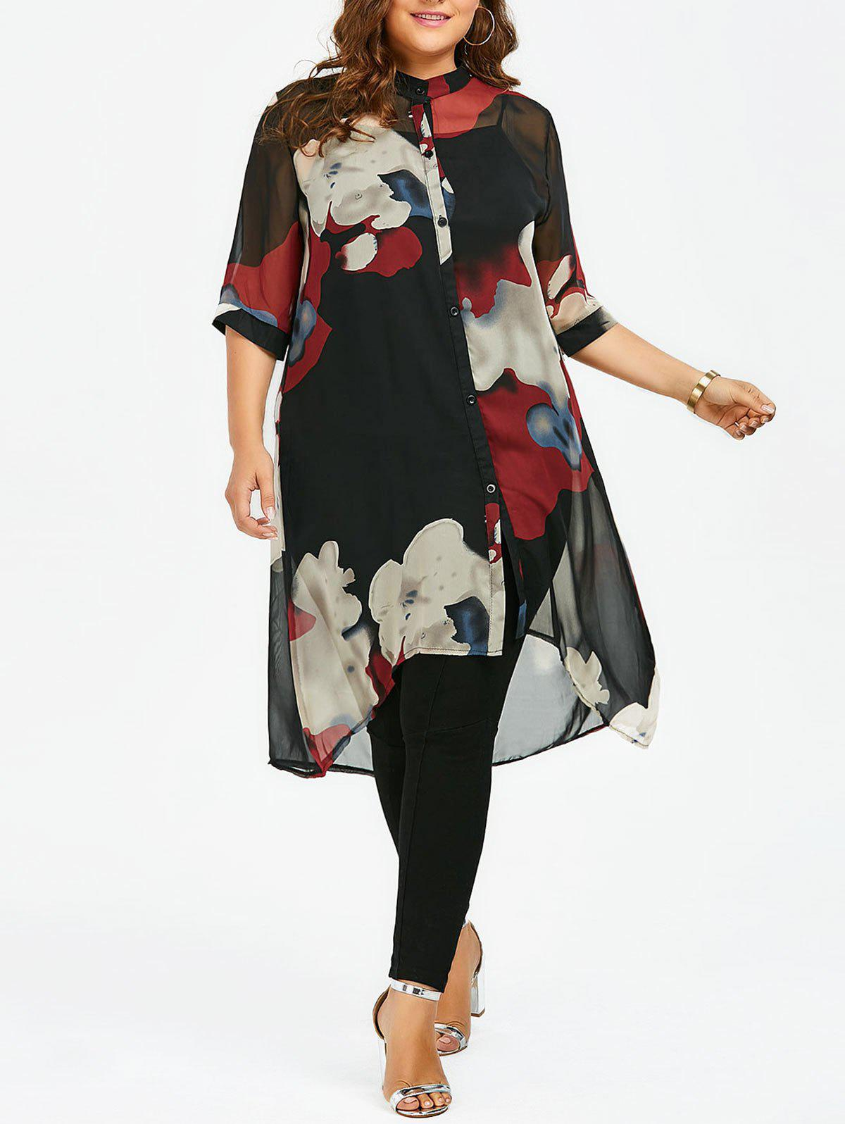 Plus Size Button Up Printed Chiffon Flowy Tunic TopWOMEN<br><br>Size: 4XL; Color: RED; Material: Polyester; Fabric Type: Chiffon; Shirt Length: Long; Sleeve Length: Three Quarter; Collar: Mandarin Collar; Style: Fashion; Season: Spring,Summer; Embellishment: Button; Pattern Type: Print; Weight: 0.1800kg; Package Contents: 1 x Top;