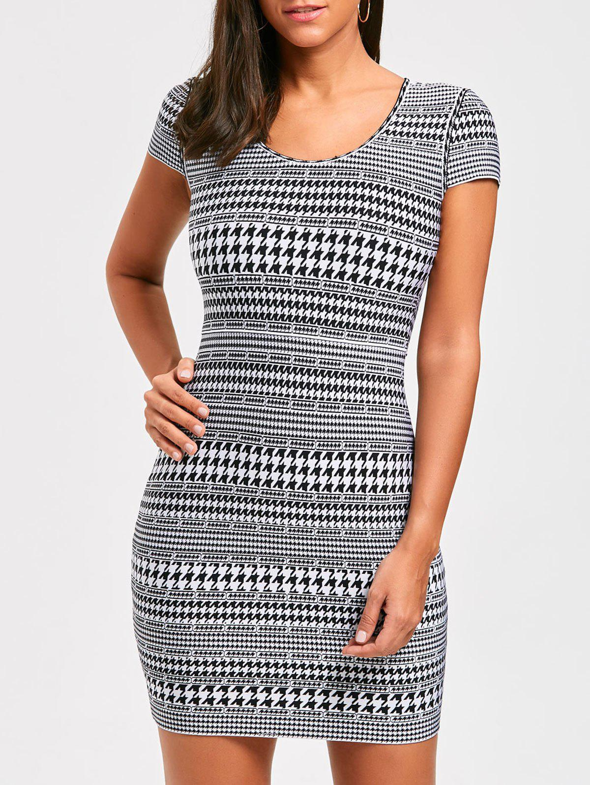 Trendy Houndstooth Print Cap Sleeve Bandage Dress