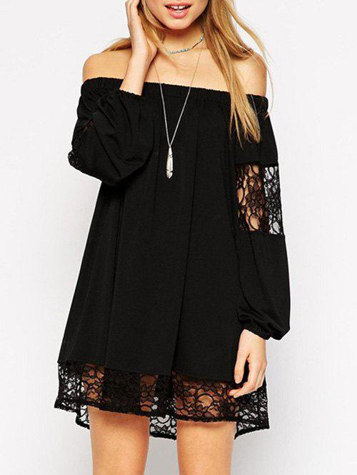 Outfit Off Shoulder Lace Insert Shift Dress