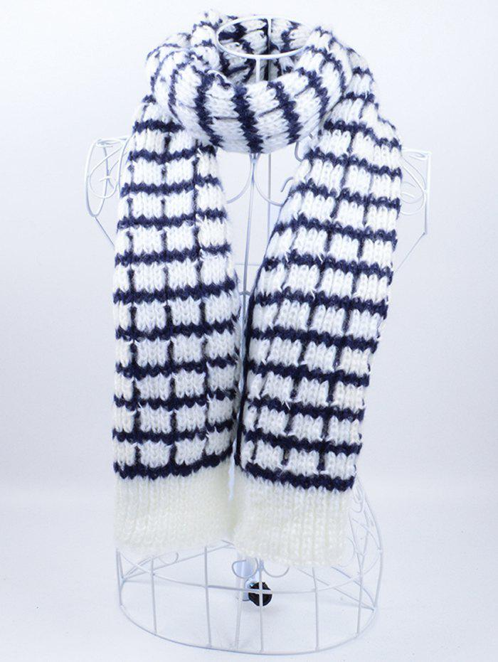 Affordable Outdoor Checked Pattern Knitting Scarf