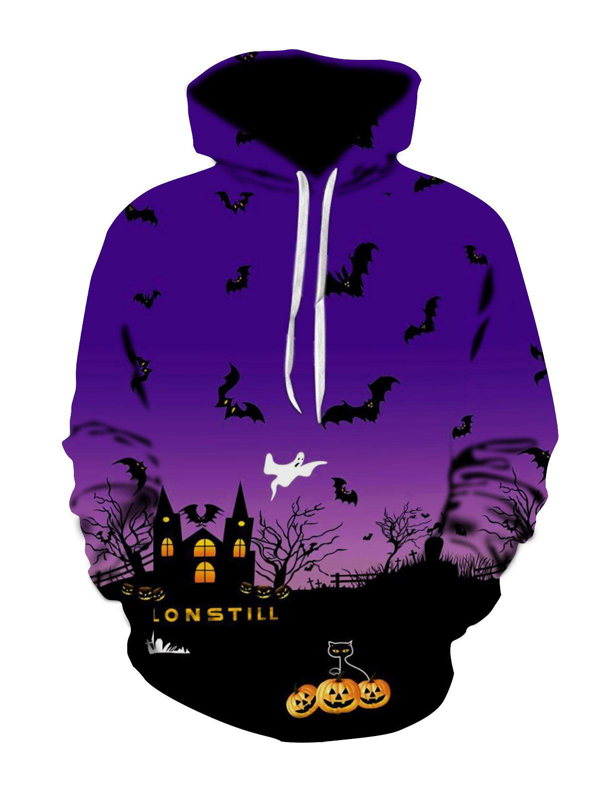 Chic Halloween Night Scene Print Plus Size Hoodie