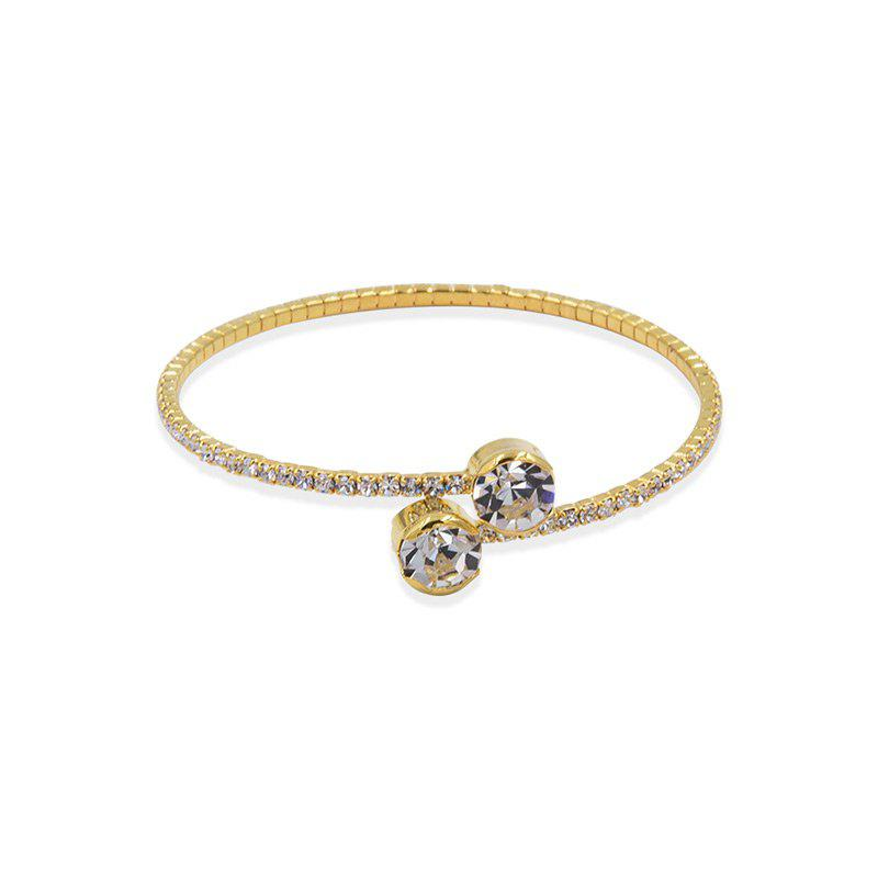 Sparkly Rhinestoned Alloy Cuff BraceletJEWELRY<br><br>Color: GOLDEN; Item Type: Cuff Bracelet; Gender: For Women; Material: Rhinestone; Metal Type: Alloy; Style: Trendy; Shape/Pattern: Round; Weight: 0.0300kg; Package Contents: 1 x Bracelet;