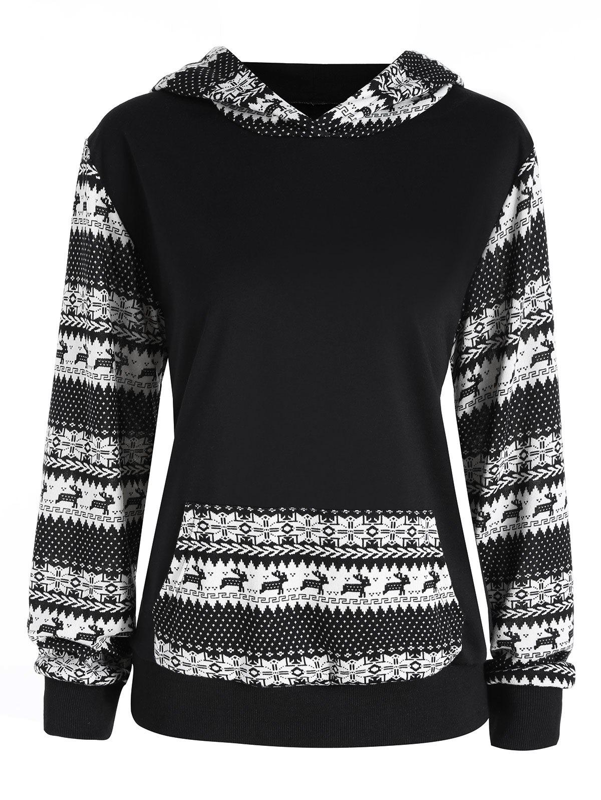 Christmas Snow Printed Plus Size Raglan HoodieWOMEN<br><br>Size: 4XL; Color: BLACK; Material: Polyester; Shirt Length: Regular; Sleeve Length: Full; Style: Fashion; Pattern Style: Print; Embellishment: Front Pocket; Season: Fall; Weight: 0.4600kg; Package Contents: 1 x Hoodie;
