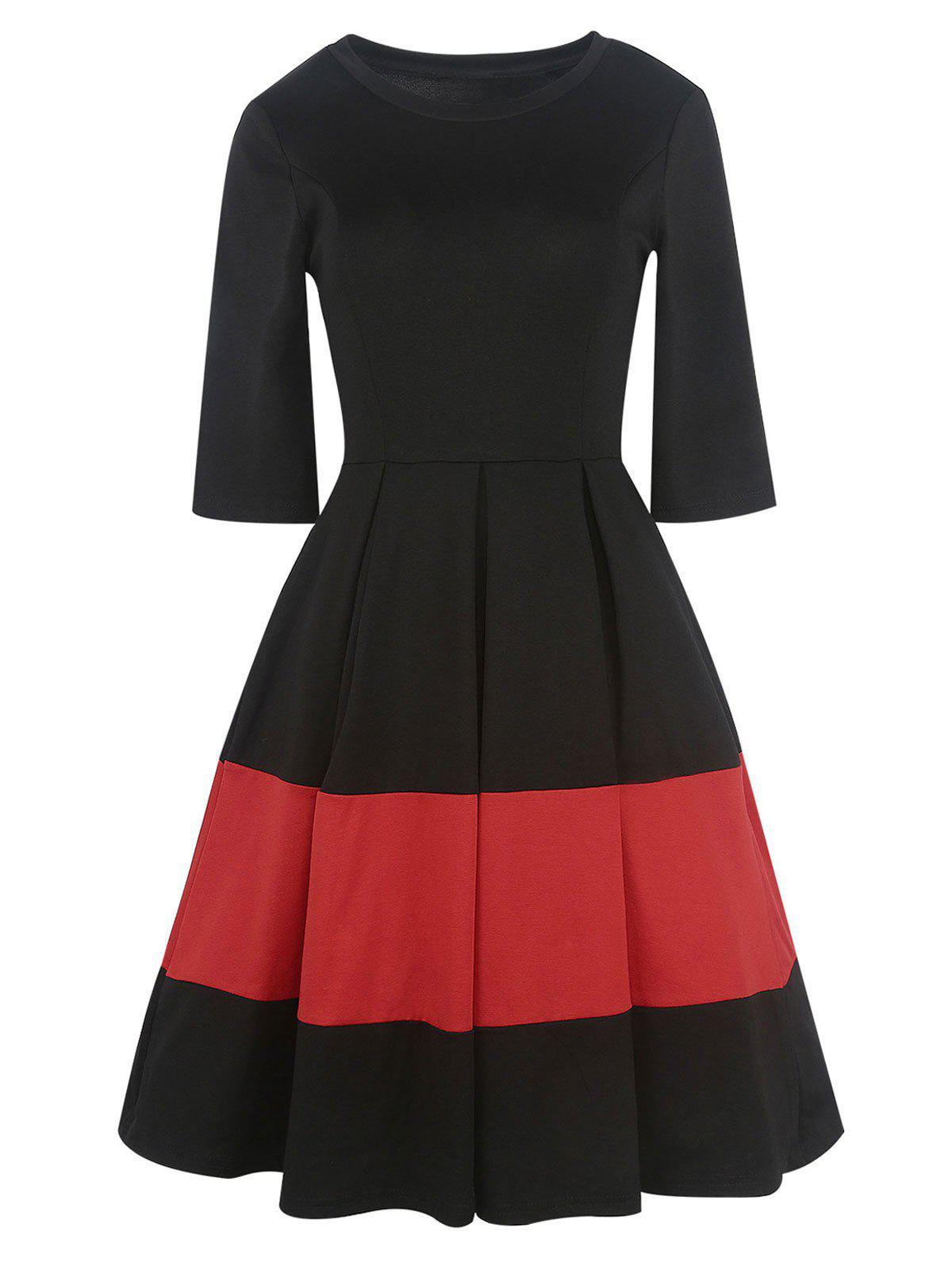 Vintage Two Tone Pleated A Line DressWOMEN<br><br>Size: L; Color: BLACK; Style: Vintage; Material: Polyester,Spandex; Silhouette: A-Line; Dresses Length: Knee-Length; Neckline: Round Collar; Sleeve Length: 3/4 Length Sleeves; Pattern Type: Others; With Belt: No; Season: Fall,Spring; Weight: 0.4200kg; Package Contents: 1 x Dress;