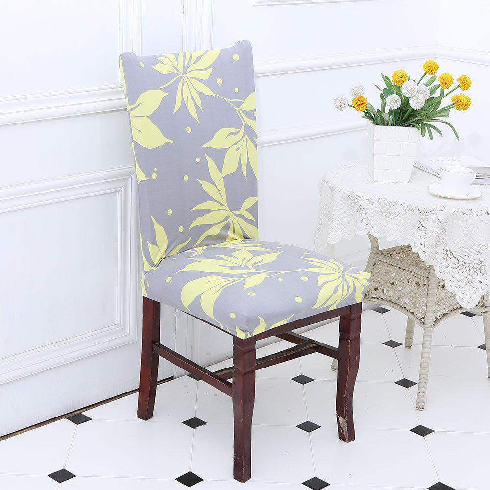 Leaves Pattern Stretch Elastic Removable Chair CoverHOME<br><br>Color: YELLOW + GRAY; Type: Chair Cover; Material: Polyester; Pattern Type: Floral; Weight: 0.1200kg; Package Contents: 1 x Chair Cover;