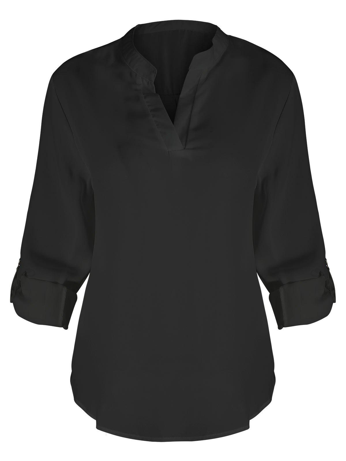 Plus Size V Neck BlouseWOMEN<br><br>Size: 2XL; Color: BLACK; Material: Polyester; Shirt Length: Regular; Sleeve Length: Three Quarter; Collar: V-Neck; Style: Fashion; Season: Fall; Pattern Type: Solid; Weight: 0.3000kg; Package Contents: 1 x Blouse;