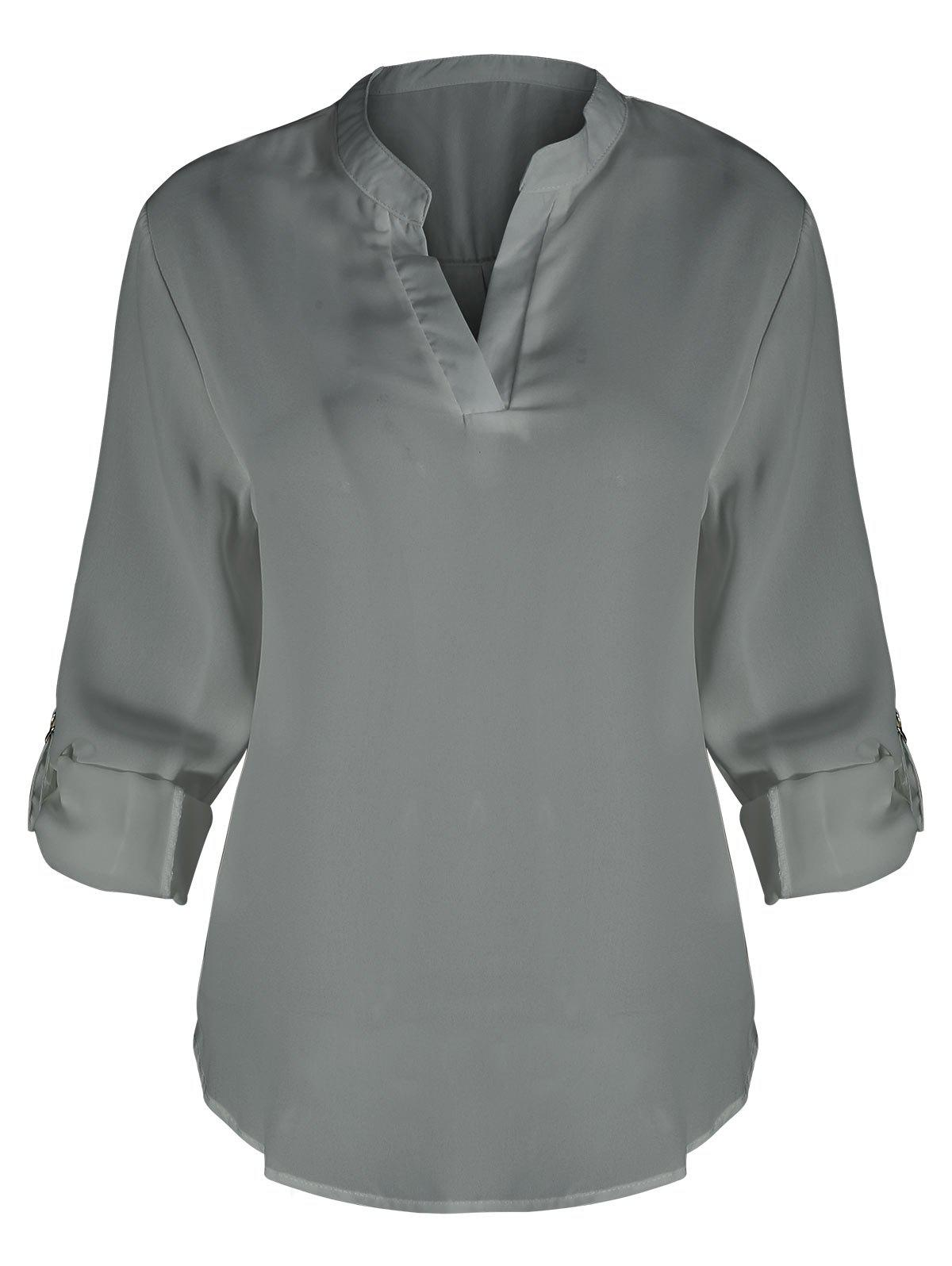 Plus Size V Neck BlouseWOMEN<br><br>Size: 2XL; Color: GRAY; Material: Polyester; Shirt Length: Regular; Sleeve Length: Three Quarter; Collar: V-Neck; Style: Fashion; Season: Fall; Pattern Type: Solid; Weight: 0.3000kg; Package Contents: 1 x Blouse;
