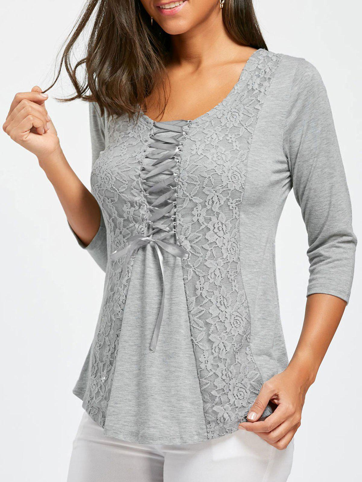 Lace Insert Lace Up TopWOMEN<br><br>Size: L; Color: GRAY; Material: Polyester,Spandex; Shirt Length: Regular; Sleeve Length: Three Quarter; Collar: Round Neck; Style: Fashion; Season: Fall,Spring; Embellishment: Lace; Pattern Type: Solid; Weight: 0.2550kg; Package Contents: 1 x Top;
