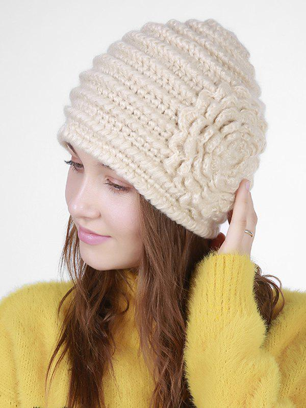 Vintage Floral Embroidery Pattern Stripe Knit HatACCESSORIES<br><br>Color: BEIGE; Hat Type: Skullies Beanie; Group: Adult; Gender: For Women; Style: Fashion; Pattern Type: Floral; Material: Acrylic; Circumference (CM): 55-65; Weight: 0.1040kg; Package Contents: 1 x Hat;